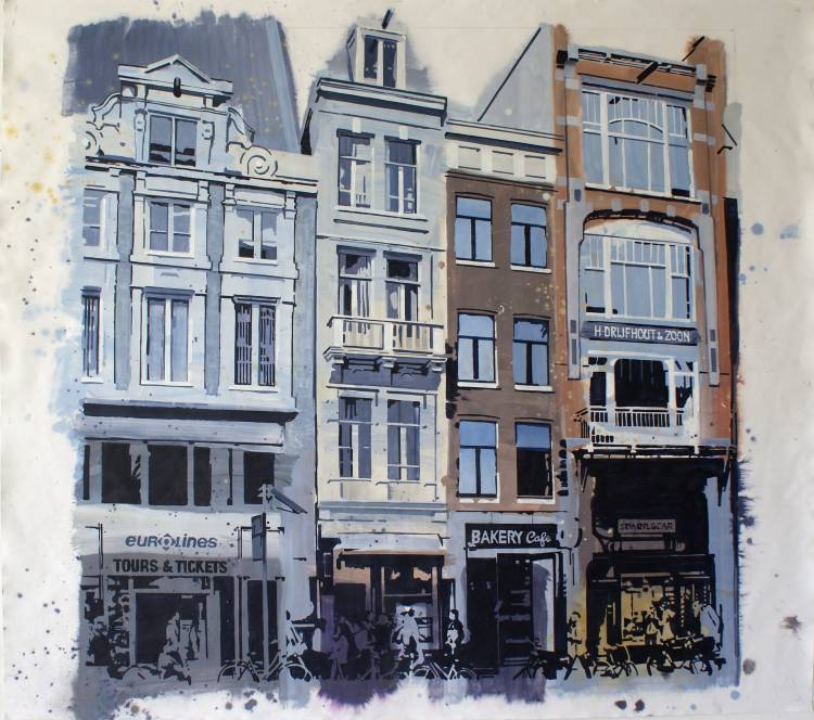 Damrak, Amsterdam,schilderij van Willem van der Hofstede