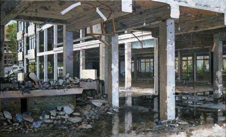 sloop, urban environment, beton, sloop, demolition, demolition, bouwen en breken,schilderij van Willem van der Hofstede