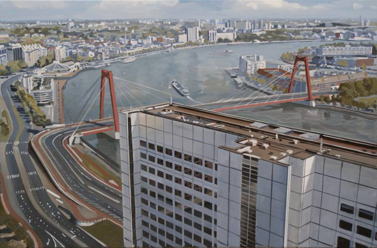 Rotterdam, Willemsbrug,schilderij van Willem van der Hofstede